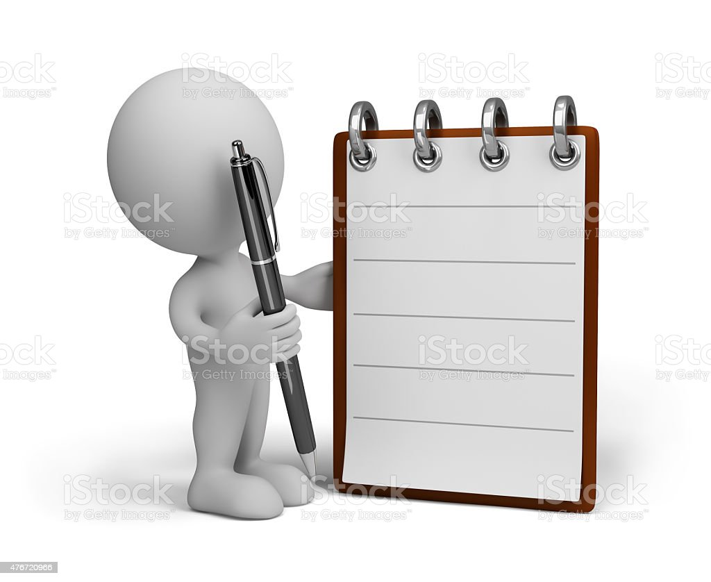 Man with diary stock photo