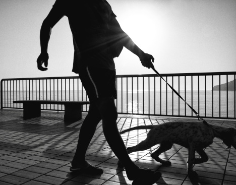 Man with dog. Black and white
