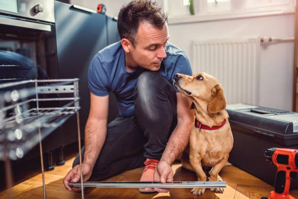 mann mit hund gebäude küchenschränke - hundezubehör diy stock-fotos und bilder