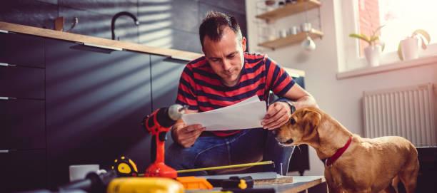 mann mit hund überprüfung baupläne beim aufbau der küche-kabinette - hundezubehör diy stock-fotos und bilder
