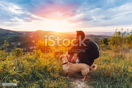 istock Man with dog enjoying mountain sunset 531325196