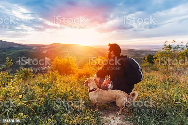 Man with dog enjoying mountain sunset picture id531325196?b=1&k=6&m=531325196&s=612x612&h=k8t tnawktm 0srfwgoyqpv81bisqyjmzug6tnwwvd4=