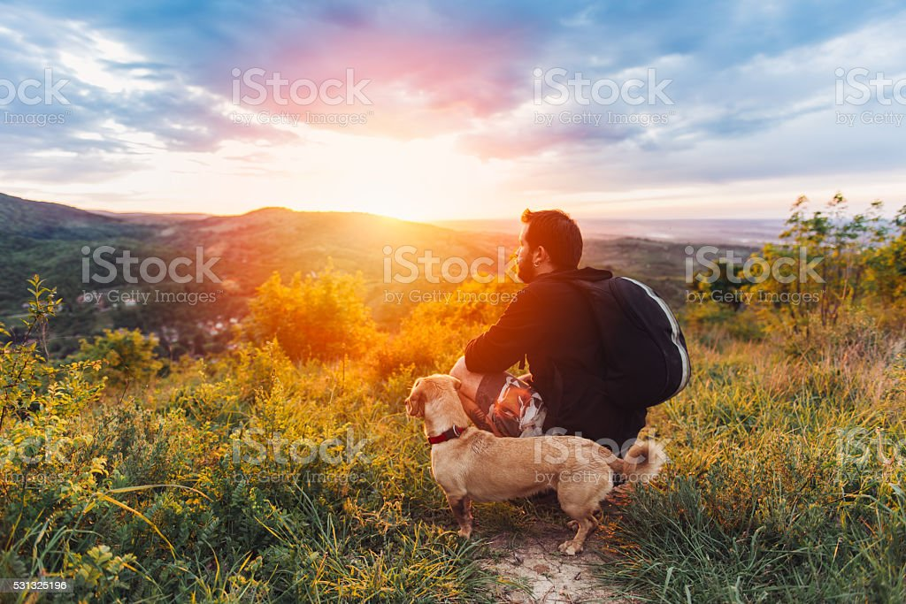 Man with dog enjoying mountain sunset stock photo