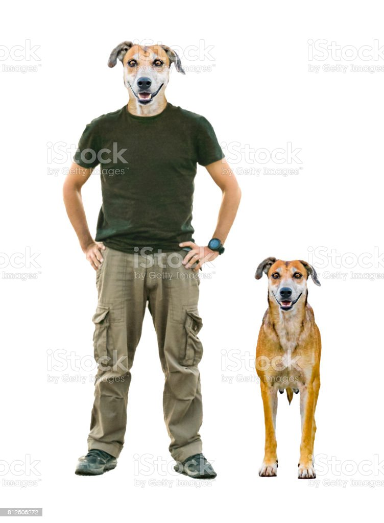 Man with Dog Head and Pet stock photo