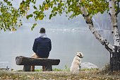 Pensive man with dog is contemplation on wooden bench near pond in autumn nature.