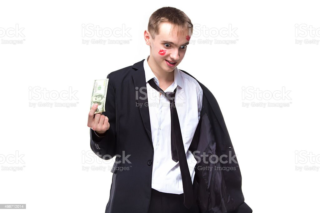 Man with dollars in kisses stock photo