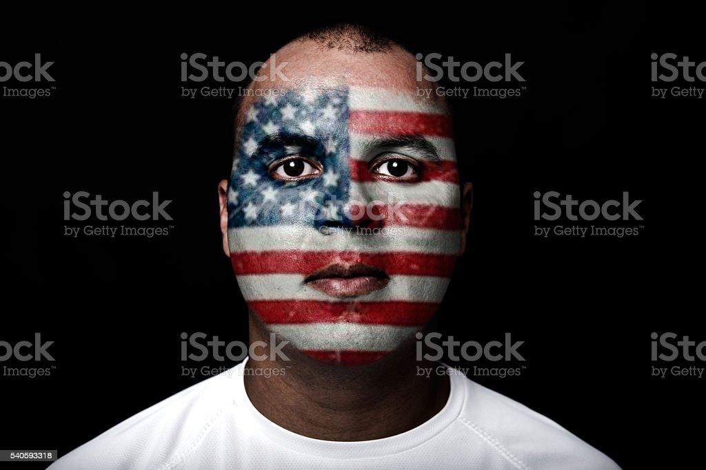 Hombre con bandera EEUU - foto de stock