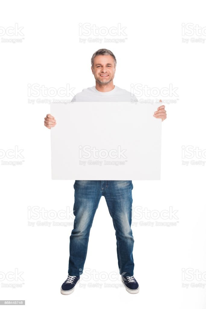 man with empty banner stock photo