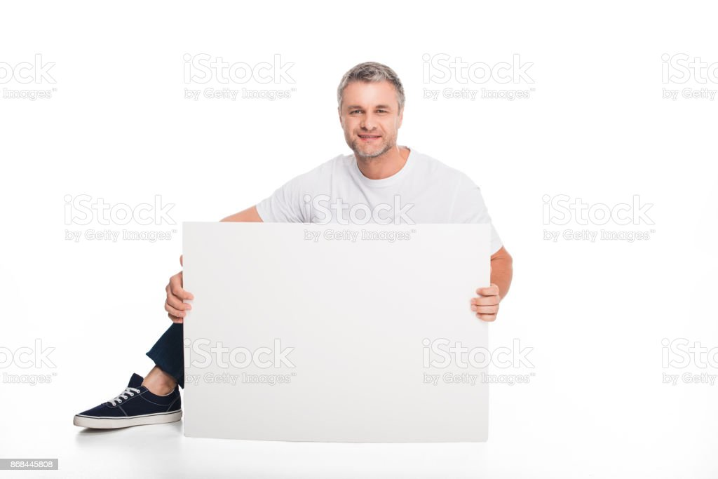 man with empty card stock photo
