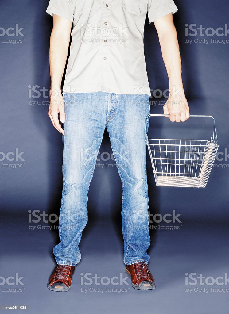 Man with empty shopping basket royalty-free stock photo