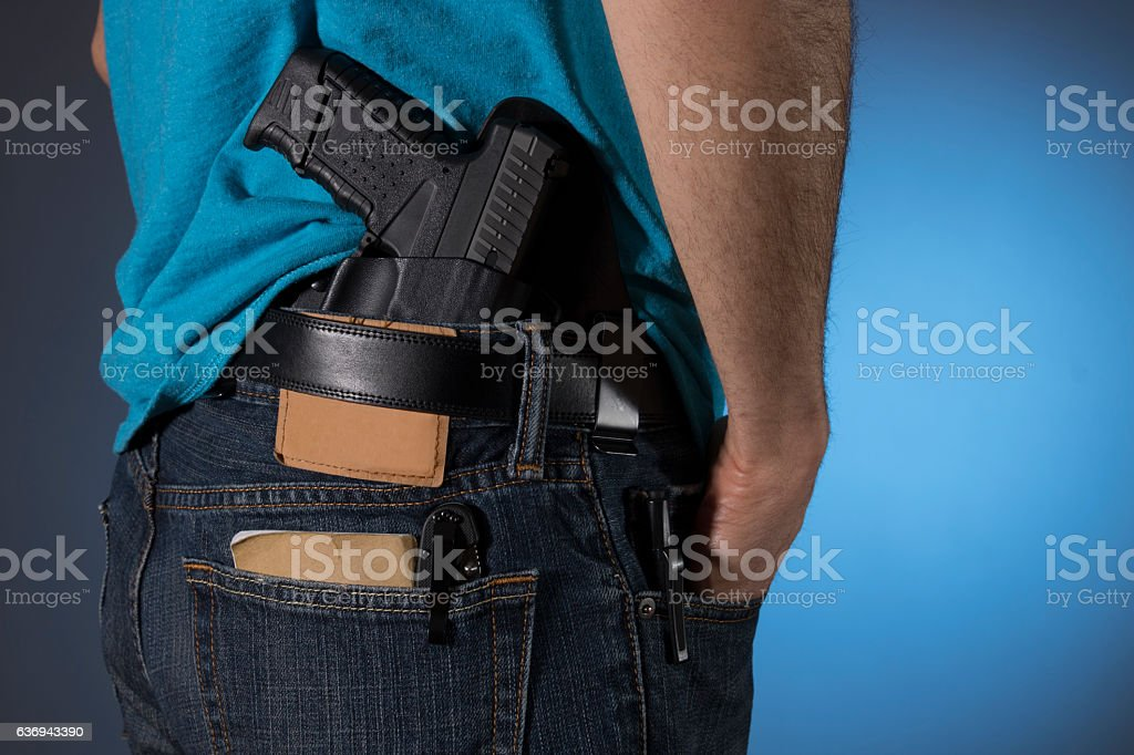Man with everyday carry items (EDC) stock photo