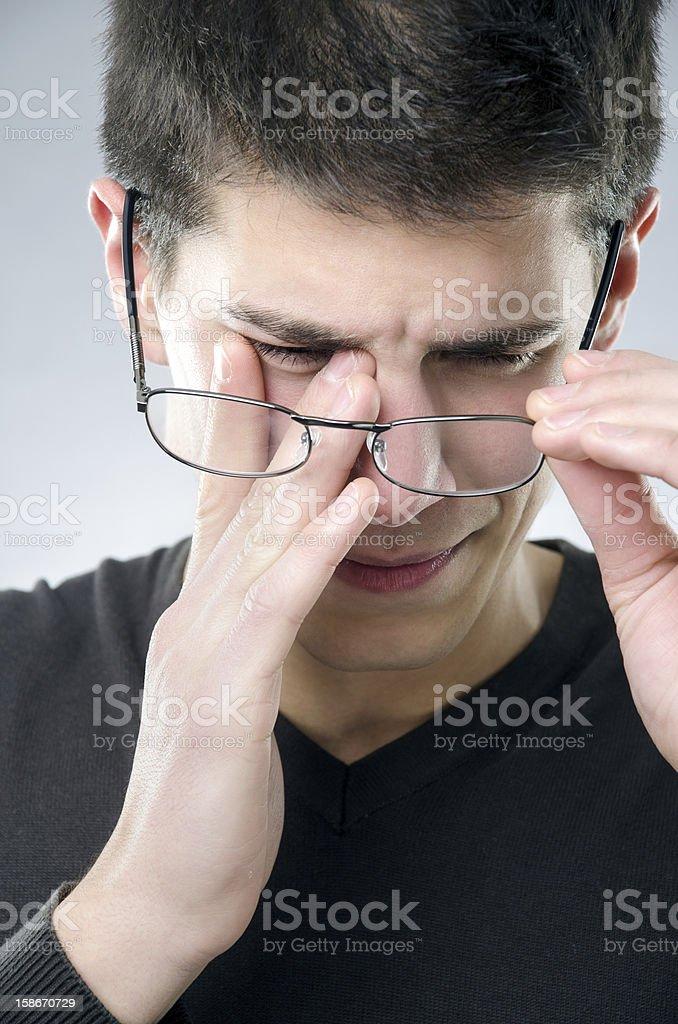 Man with eyesight problem stock photo
