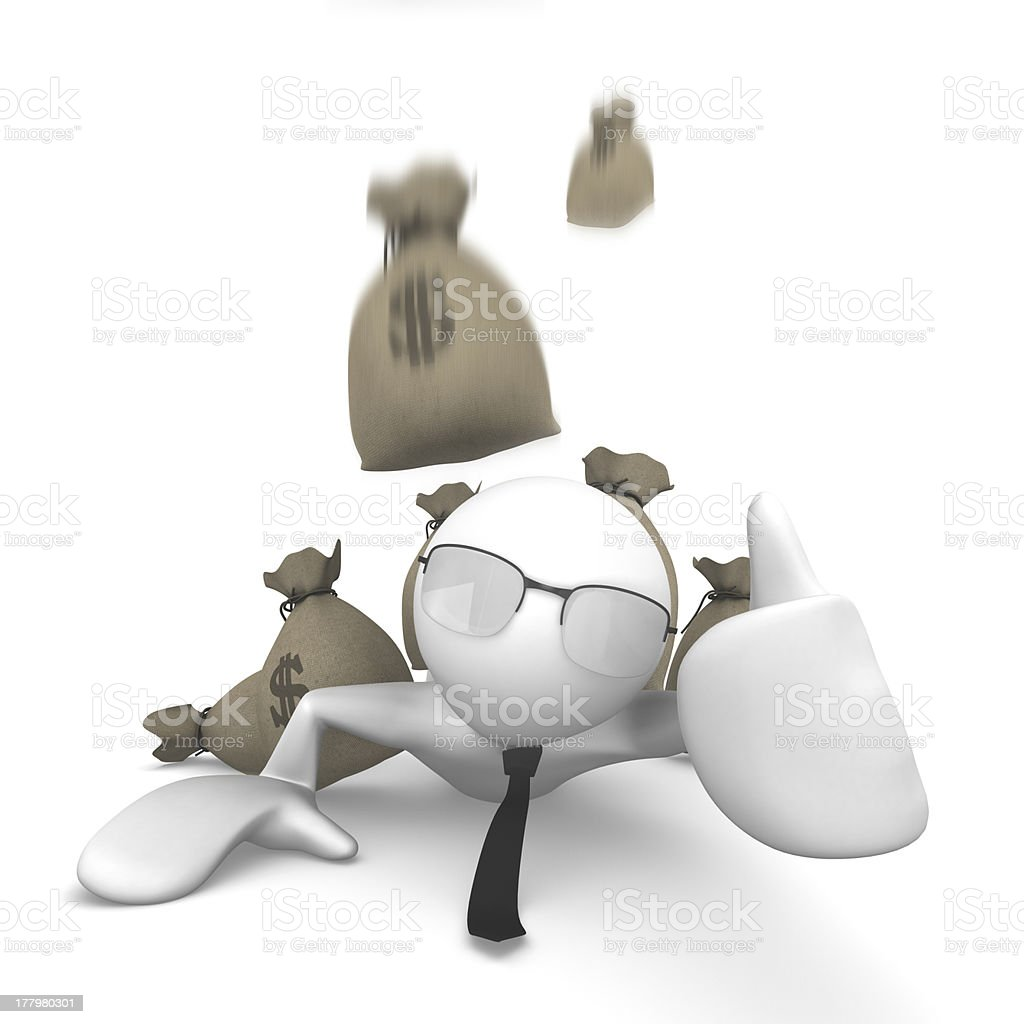 Man with falling money bag royalty-free stock photo