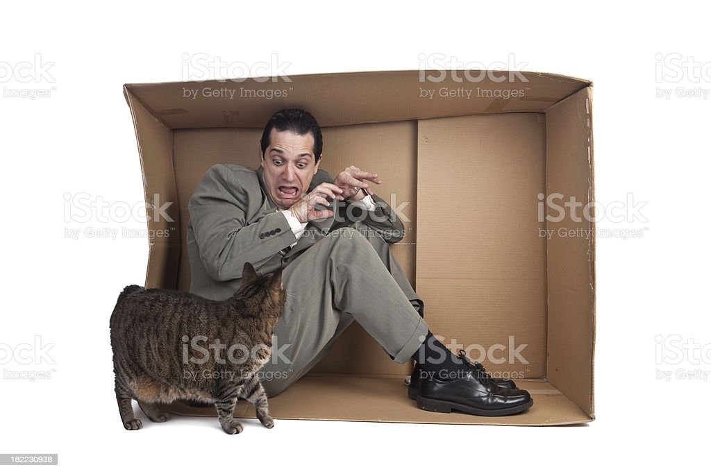 Man With Fear Of Cats stock photo