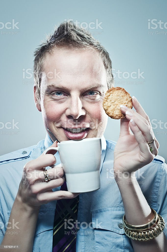 man with female hands having a coffee break royalty-free stock photo