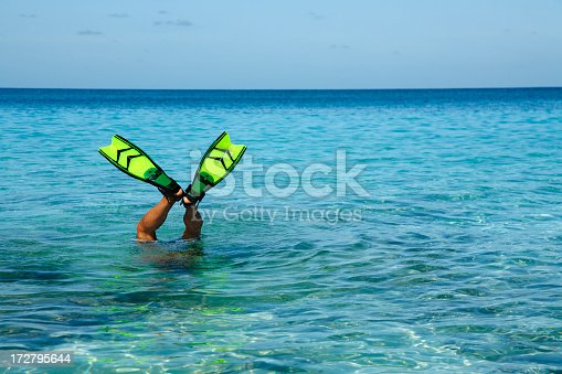 istock man with fins sticking up out of the water 172795644