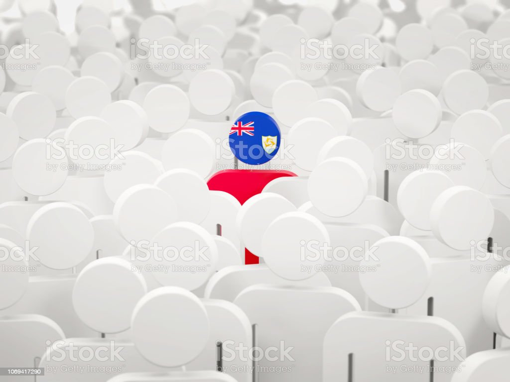 Man with flag of anguilla in a crowd stock photo