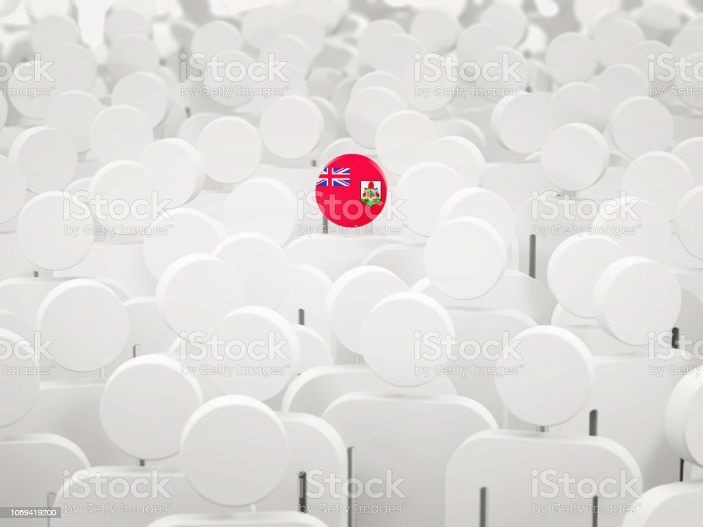 Man with flag of bermuda in a crowd stock photo