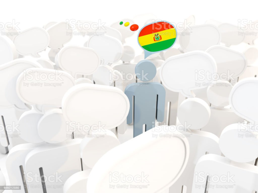 Man with flag of bolivia in a crowd stock photo