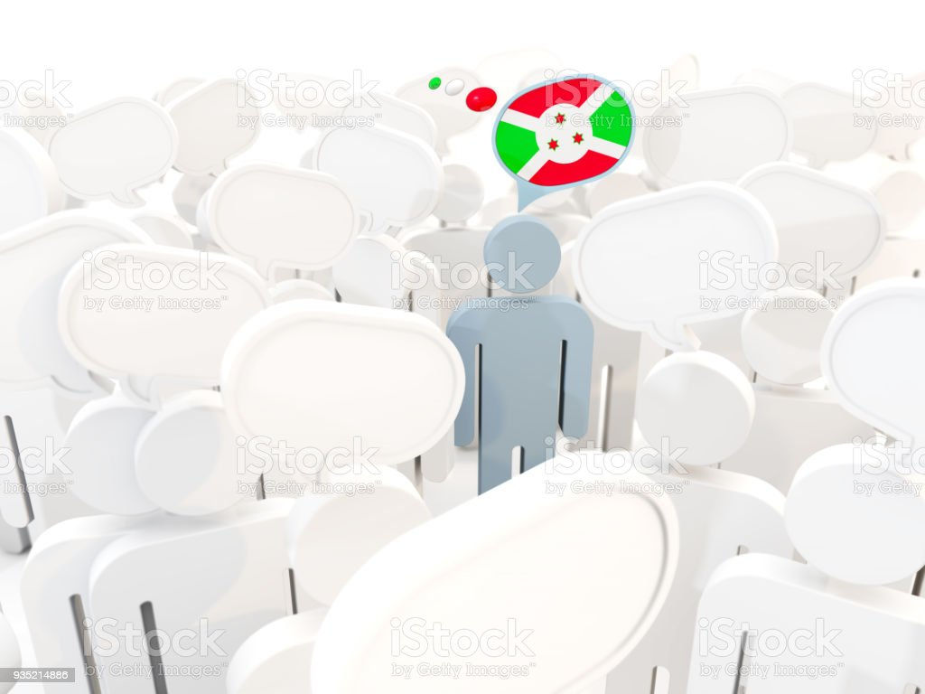 Man with flag of burundi in a crowd stock photo
