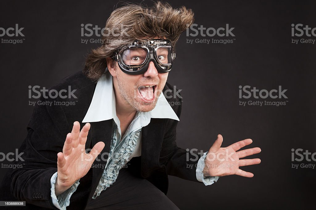 Man with flying goggles royalty-free stock photo