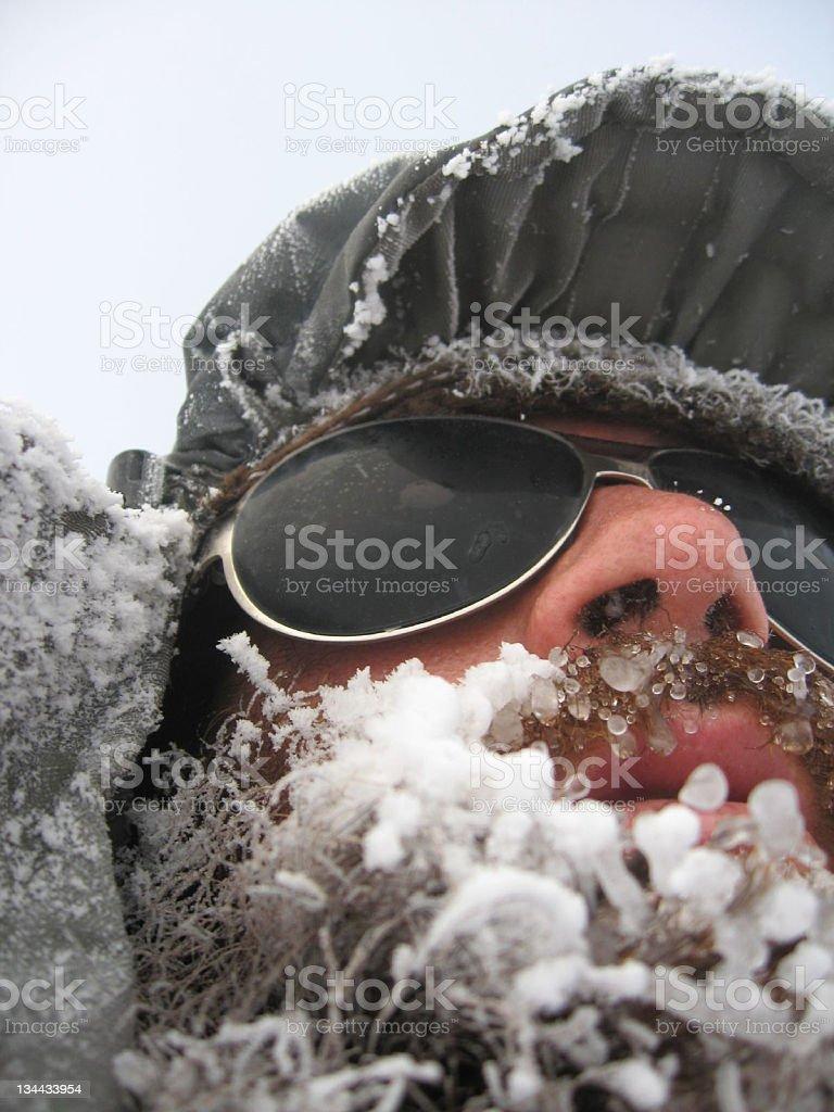 Man with frozen beard stock photo