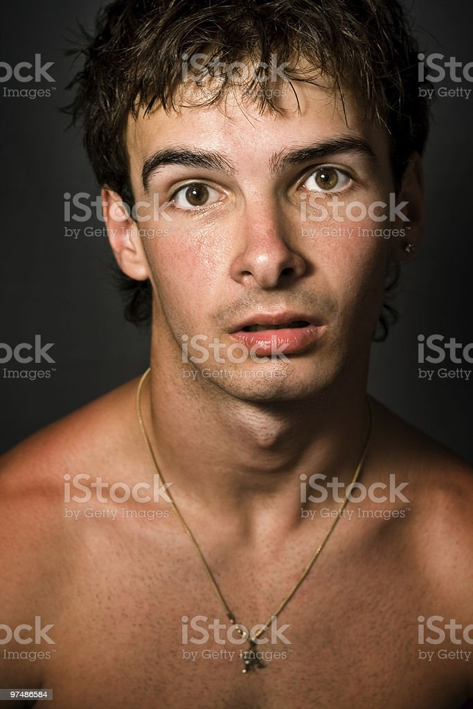 Man with funny surprised expression on his face royalty-free stock photo