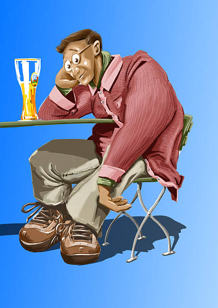 man with german beer Illustration of a lazy man sitting in a german beer garden and drinking a typical bavarian white beer. oktoberfest stock pictures, royalty-free photos & images
