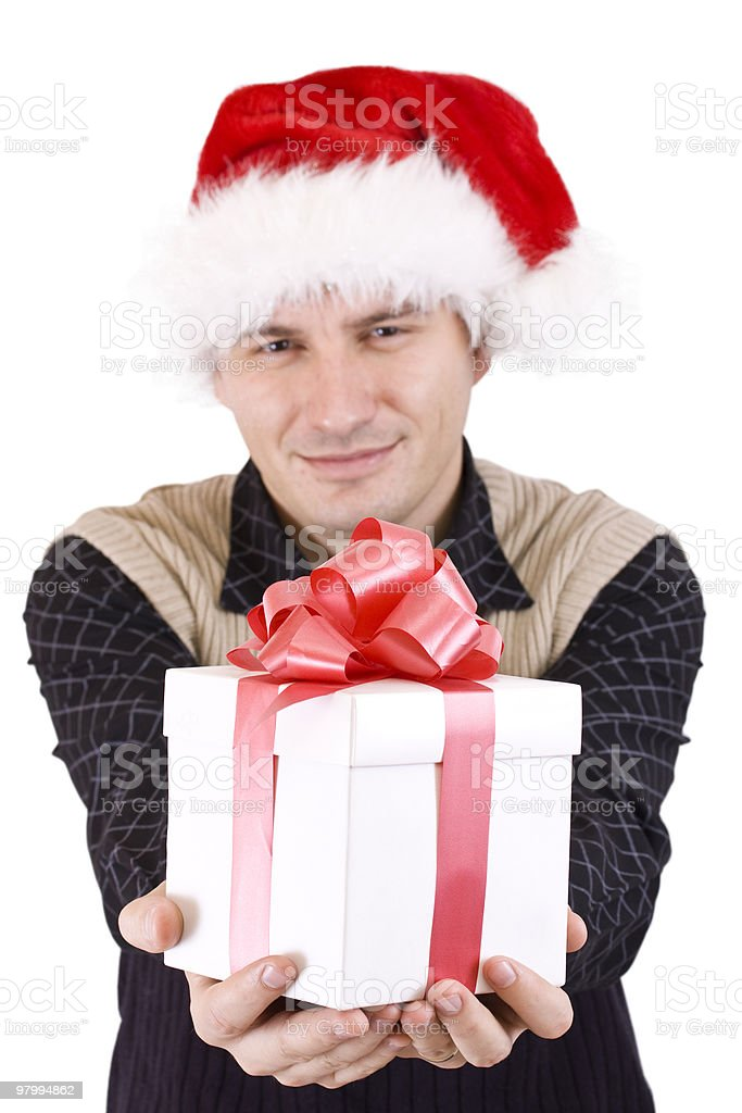 Man with gift royalty-free stock photo