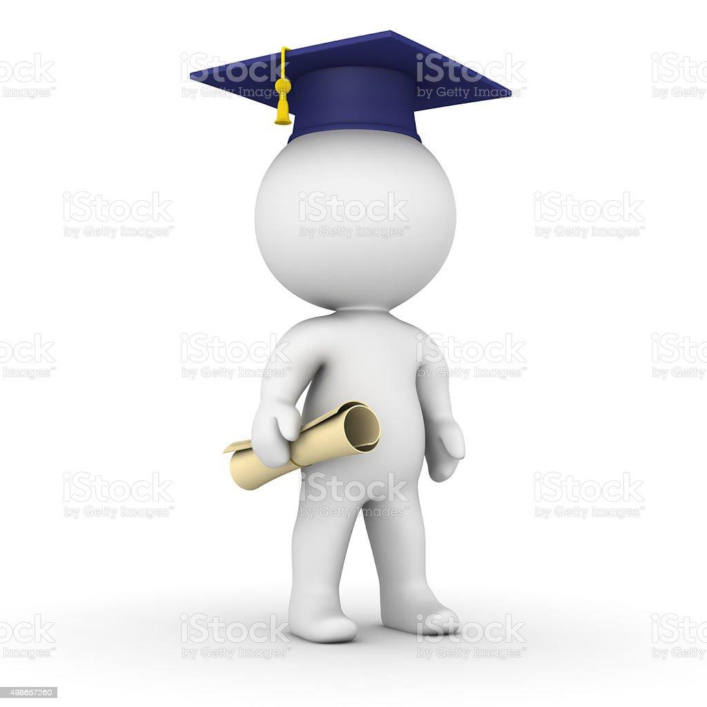 3D Man with graduation cap and diploma stock photo