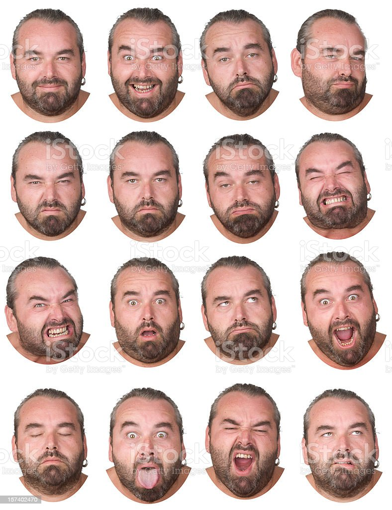 man with gray hair beard and earring collection of expressions royalty-free stock photo
