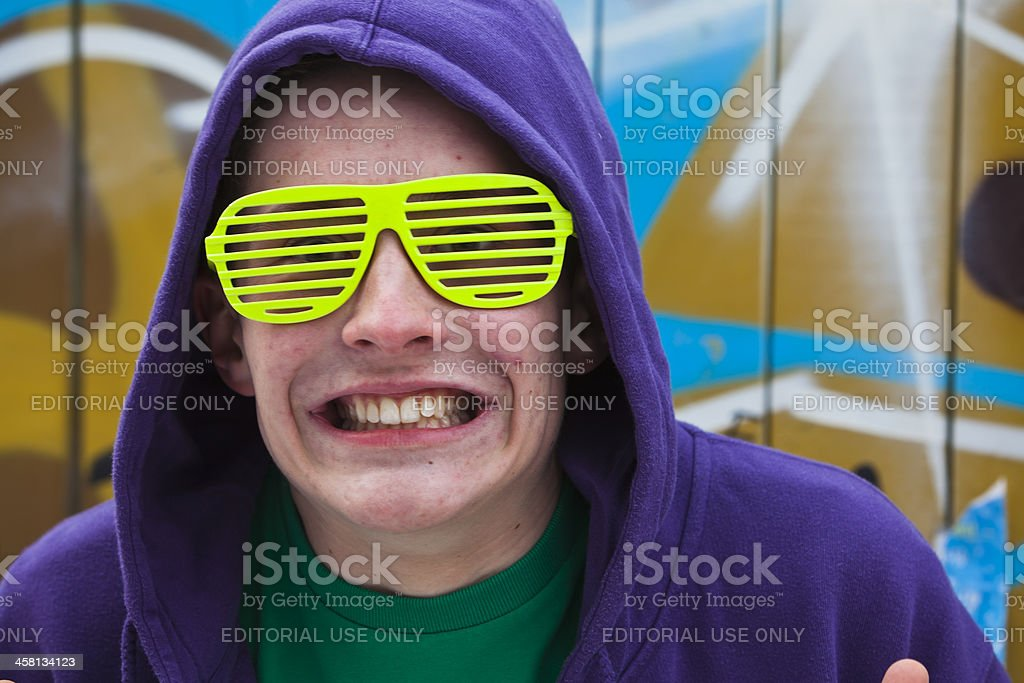 Man with green glasses. stock photo