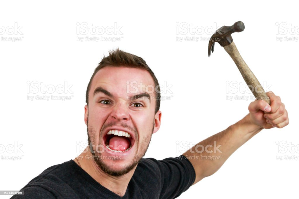 Man With Hammer in Hand stock photo