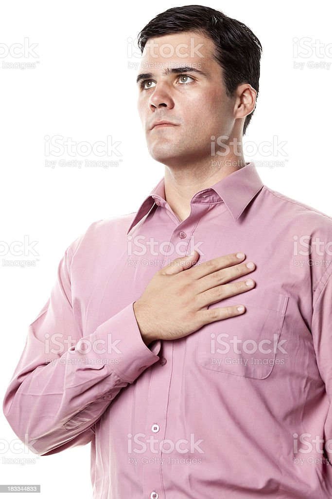 Man With Hand Over Heart stock photo