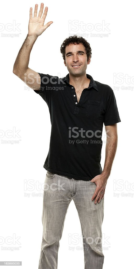Man With Hand Raised, Waving stock photo