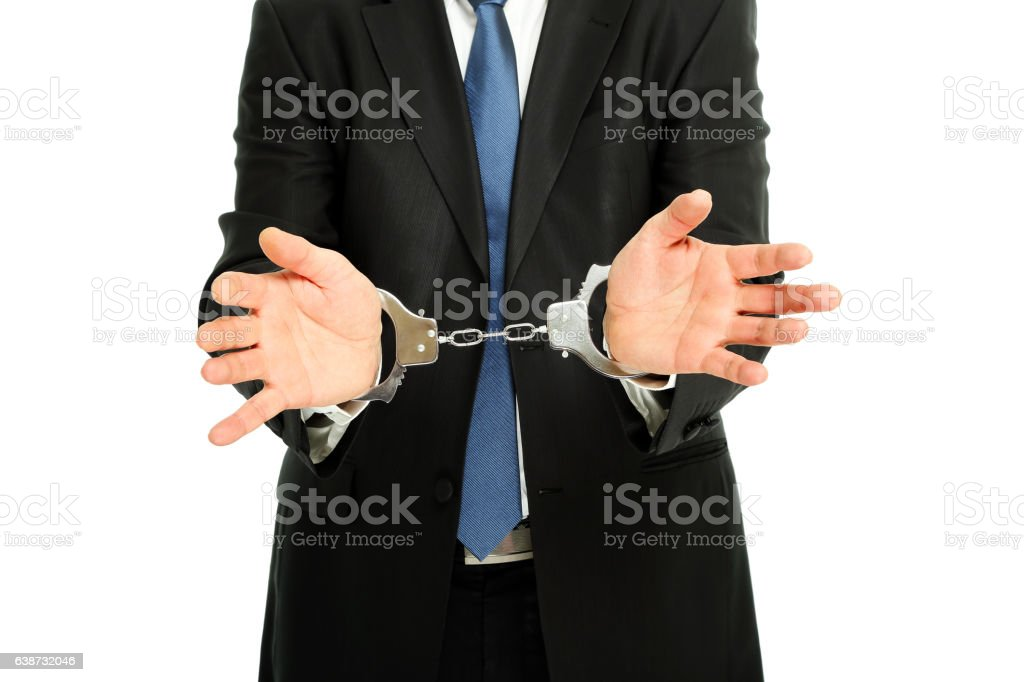 man with handcuffs stock photo