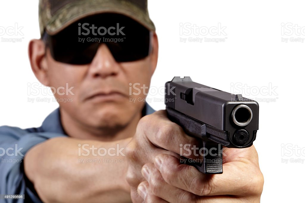 Man with Handgun Weapon Pointing on White stock photo