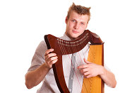 man with harp - isolated on white (shoot before 2009.09.01)