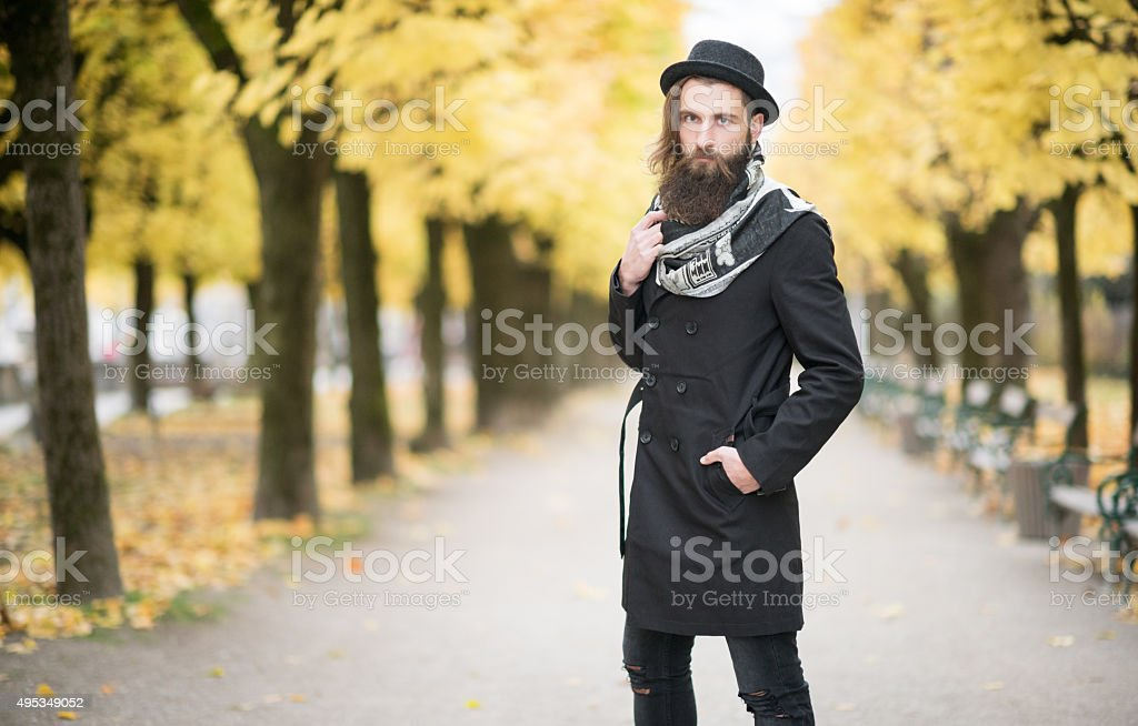 Man with Hat and Beard, Male Fashion, Fall Colors stock photo
