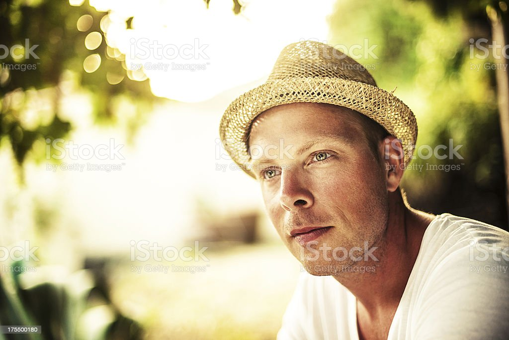 Man with hat stock photo