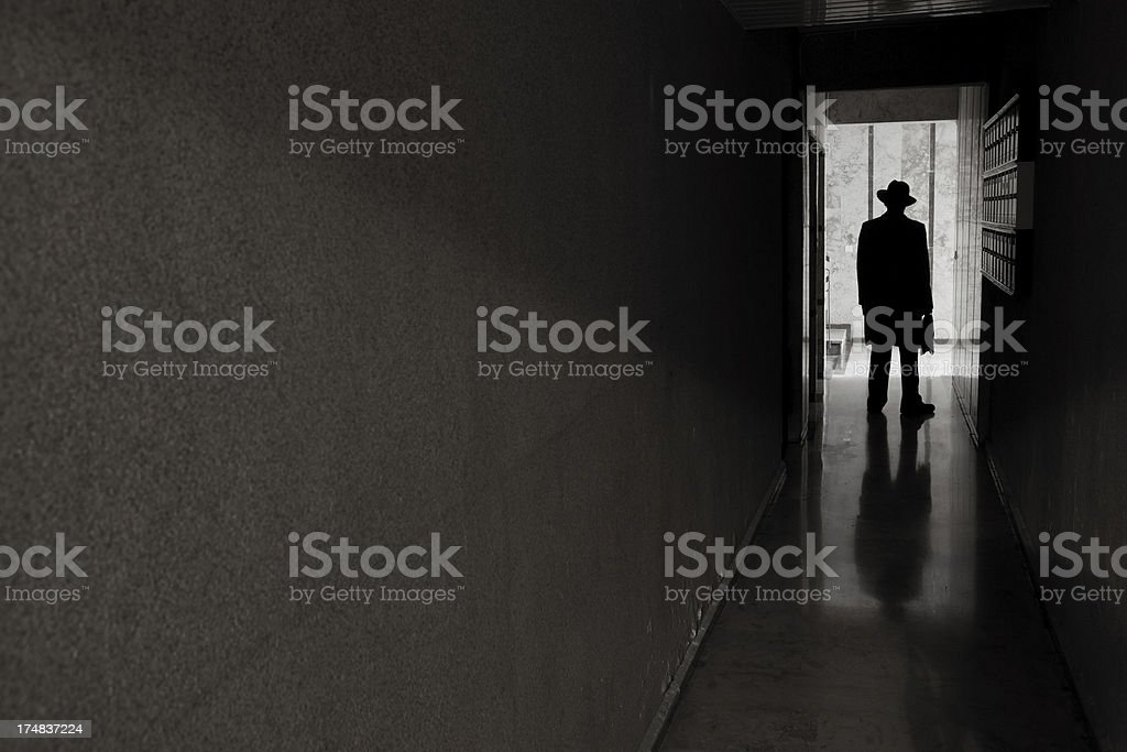 Man with hat standing in dark spooky entrence hall royalty-free stock photo
