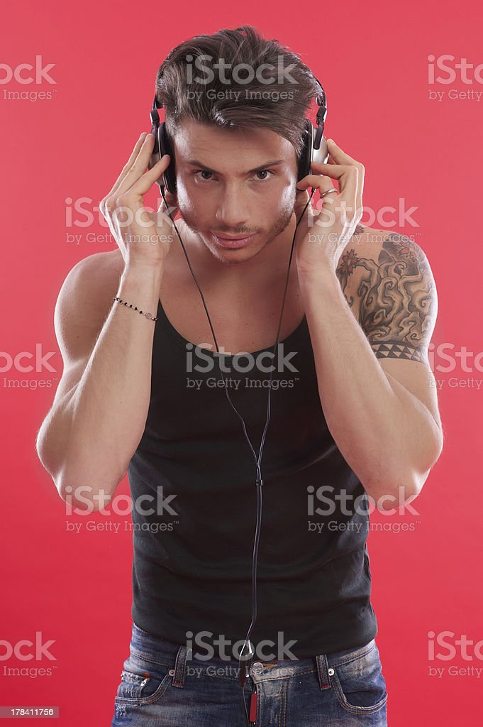 man with headphones royalty-free stock photo