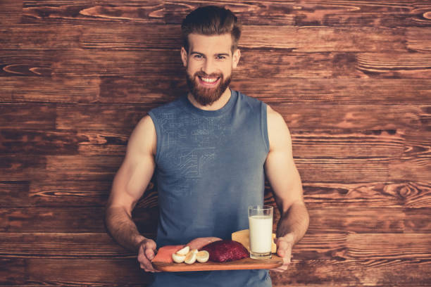 Man with healthy food - foto de stock