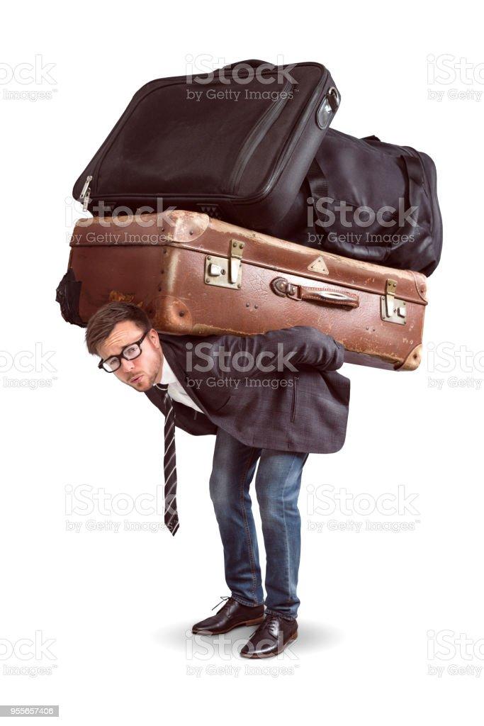 Mann mit schwerem Gepäck – Foto