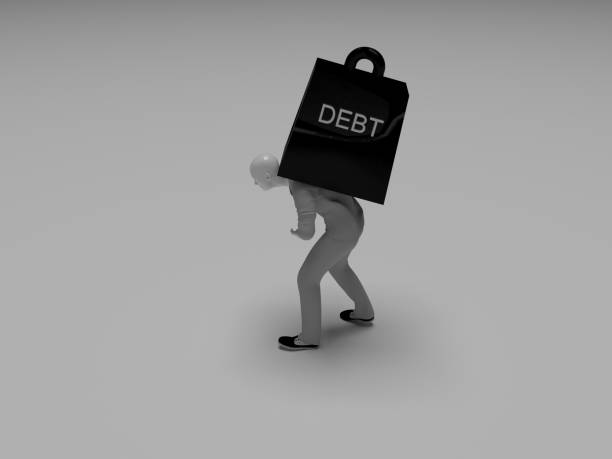 Man with heavy debt Man with heavy debt debt ceiling stock pictures, royalty-free photos & images