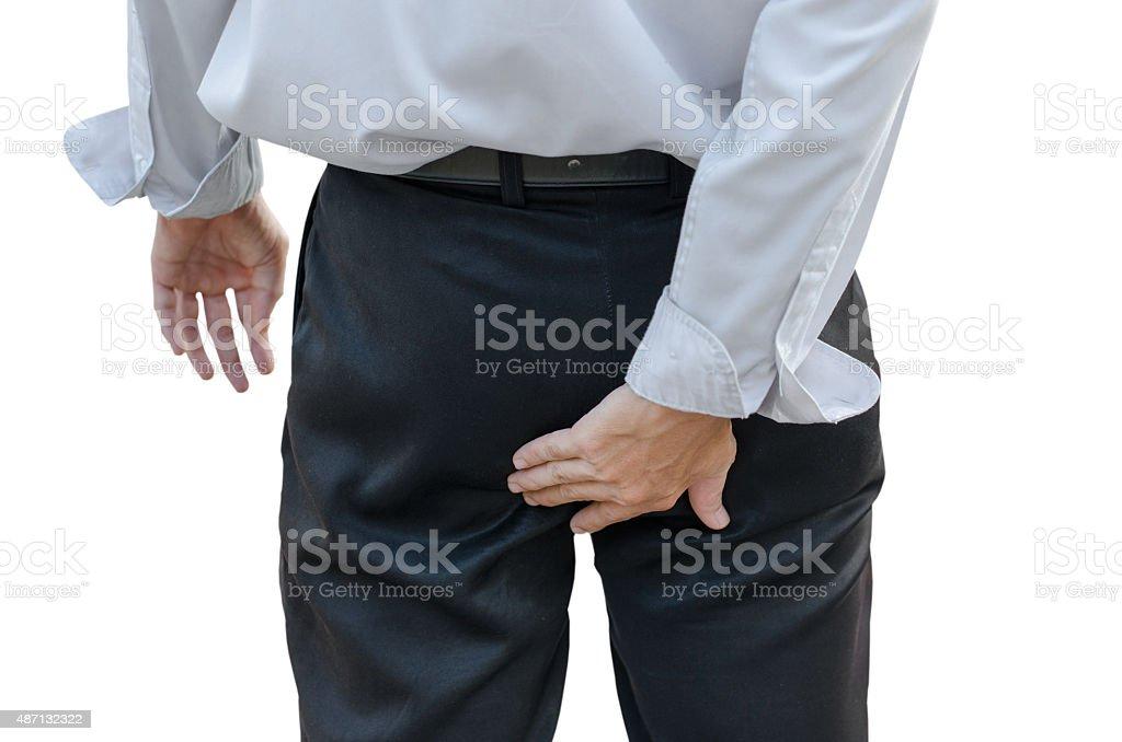Man with hemorrhoids Man with hemorrhoids 2015 Stock Photo