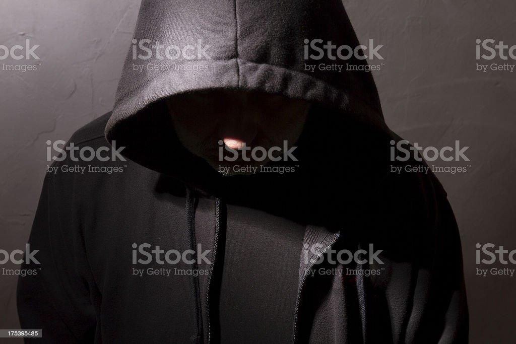 man with hidden face stock photo