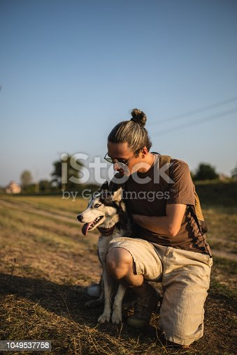 istock Man with his best friend 1049537758