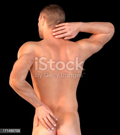 istock Man with his hand on neck and lower back 171450703