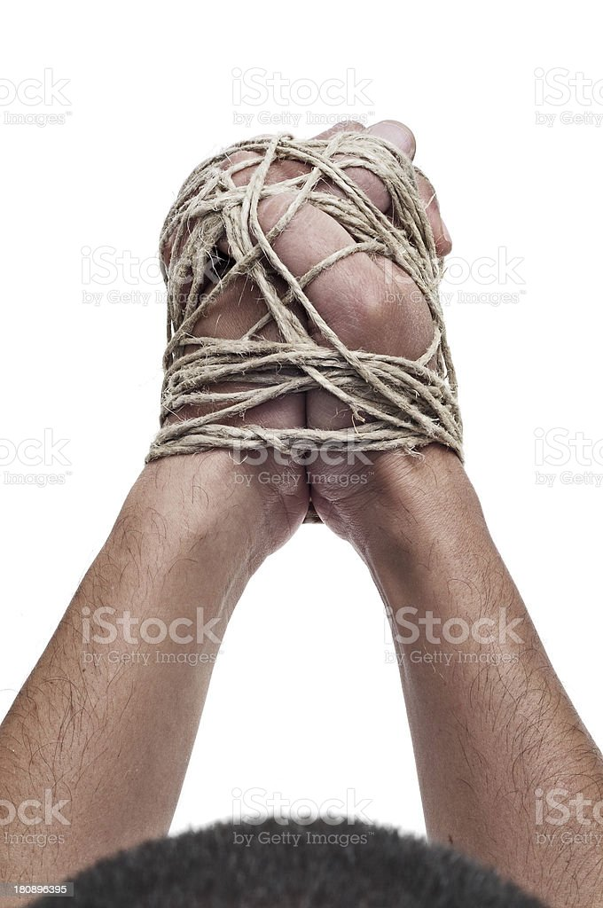 man with his hands tied royalty-free stock photo